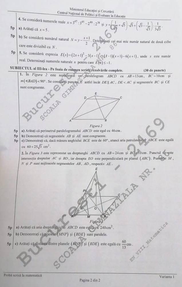 subiecte evaluarea națională matematică 2020