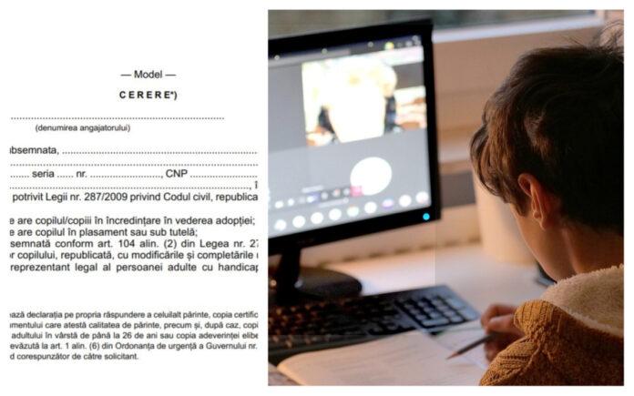 model cerere zile libere plătite părinți școala online